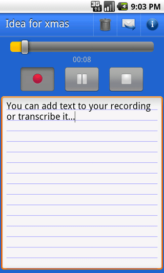 Voice note & info bar
